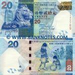 Hong Kong 20 Dollars 1.1.2010 (AV6545xx) UNC
