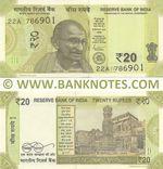 "India 20 Rupees 2019 ""R"" (22A/7869xx) UNC"