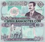 Iraq 10 Dinars 1992 (02396xx alif-ayn/19) UNC