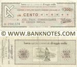 Italy Mini-Cheque 100 Lire 5.10.1977 (Banca Agr. C. di Reggio Emilia) (CL 7518951) (circulated) VF+