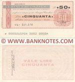Italy Mini-Cheque 50 Lire 26.4.1977 (La Banca Belinzaghi, Milano) (Nº L- 021.578) (lt. circulated) XF-AU
