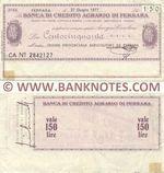Italy Mini-Cheque 150 Lire 27.6.1977 (Banca di Credito Agr. di Ferrara) (CA Nº 2842127) (circulated) aVF