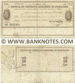Italy Mini-Cheque 50 Lire 10.8.1976 (Banca di Credito Agr. di Ferrara) (Nº 9020401) (circulated) F