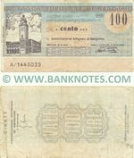 Italy Mini-Cheque 100 Lire 22.12.1976 (Banca Popolare di Bergamo) (A/1148420) (circulated) F-VF