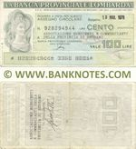 Italy Mini-Cheque 100 Lire 21.12.1977 (La Banca Provinciale Lombarda) (927659664) (circulated) F-VF