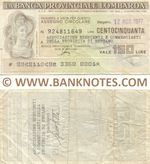 Italy Mini-Cheque 150 Lire 12.8.1977 (La Banca Provinciale Lombarda) (924811849) (circulated) VF