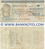 Italy Mini-Cheque 200 Lire 16.11.1976 (La Banca Provinciale Lombarda) (913635117) (circulated) VG