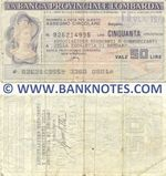 Italy Mini-Cheque 50 Lire 19.1.1978 (La Banca Provinciale Lombarda) (926214995) (circulated) F