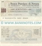 Italy Mini-Cheque 100 Lire 19.11.1976 (La Banca Popolare di Novara) (056326144) (circulated) aXF