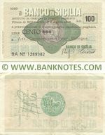 Italy Mini-Cheque 100 Lire 2.4.1976 (Il Banco di Sicilia, Bologna) (BA Nº 1269982) (circulated) VF