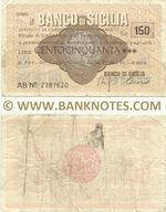 Italy Mini-Cheque 150 Lire 25.10.1976 (Il Banco di Sicilia, Ancona) (AI Nº 1272946) (circulated) F-VF