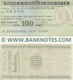 Italy Mini-Cheque 100 Lire 15.11.1976 (La Banca S.Paolo-Brescia) (102057702) (circulated) VF