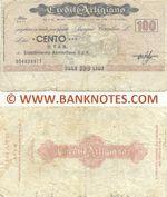Italy Mini-Cheque 100 Lire 5.5.1977 (Il Credito Artigiano, Milano) (054829977) (circulated) VG-F