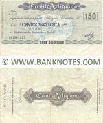Italy Mini-Cheque 150 Lire 15.7.1977 (Il Credito Artigiano, Milano) (061940327) (circulated) F-VF