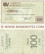 Italy Mini-Cheque 100 Lire 20.2.1978 (Credito Varesino, Varese) (816243301) (circulated) VF