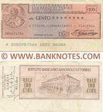 Italy Mini-Cheque 100 Lire 14.1.1976 (L'Istituto Bancario San Paolo di Torino) (216725046) (circulated) F-VF