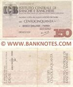 Italy Mini-Cheque 150 Lire 20.7.1977 (Istituto Centrale di Banche e Banchieri) (201081321) (circulated) VF