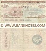 Italy Mini-Cheque 100 Lire 27.10.1976 (L'Istituto Centrale delle Banche Popolari Italiane) (01097477) (circulated) VG