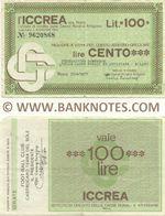Italy Mini-Cheque 100 Lire 20.4.1977 (L'Istituto di Credito delle Casse Rurali e Artigiane) (9620868) (circulated) F-VF