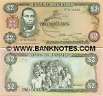 Jamaica 2 Dollars 1993 (HX4152xx) UNC