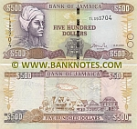 Jamaica 500 Dollars 15.1.2008 (TL3937xx) UNC