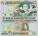 Saint Kitts & Nevis 5 Dollars (2000) UNC