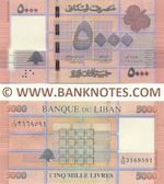 Lebanon 5000 Livres 2012 (A/02 3169588) UNC