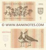 Lithuania 1 Talonas 1992 (OD0999xx) UNC