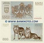 Lithuania 500 Talonu 1993 (JH3161xx) UNC