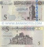 Libya 5 Dinars (2015) (#I Ba/16 87912xx) UNC