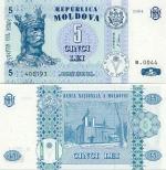 Moldova 5 Lei 1999 (Series B) UNC