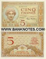 Madagascar 5 Francs (ca. 1937) (N.2164/54087630) AU+