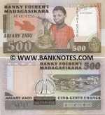 Madagascar 500 Francs = 100 Ariary (1988-93) (AE4816xxx) UNC