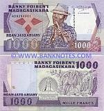 Madagascar 1000 Francs (1988-93) (BD92949xx) UNC