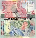 Madagascar 2500 Francs = 500 Ariary (1993) (YA75706xx) UNC
