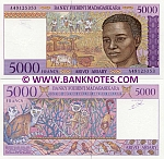 "Madagascar 5000 Francs (1995) (""A"" series) UNC"