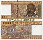 "Madagascar 10000 Francs (1995) ""B"" series (B535321xx) UNC"