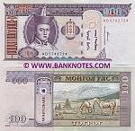 Mongolia 100 Tugrik 2000 (AD57434xx) UNC