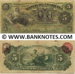 Mexico 5 Pesos 1909 Banco de Coahuila (E-120/119911) (circulated) Fine