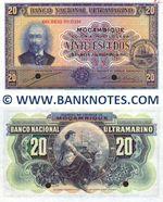 Mozambique 20 Escudos 1941 SPECIMEN AU-UNC