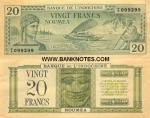 New Caledonia 20 Francs (1944) VF-XF