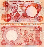 Nigeria 10 Naira 2001 (D/15 9789xx) UNC