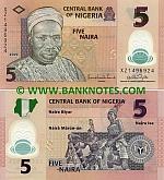 Nigeria 5 Naira 2009 (plastic) (XZ14969xx) UNC