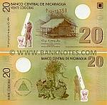 Nicaragua 20 Cordobas (2007-09) Polymer (A/1 034753xx) UNC