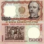 Peru 5000 Soles Oro 21.6.1985 (B82173xxE) UNC