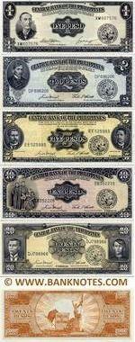 Philippines Set of 1, 2, 5, 10, 20 Pesos 1949-69 UNC