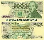 Poland 5000 Zlotych 1988 (Prefix CS) UNC