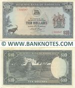 Rhodesia 10 Dollars 8.5.1972 (J/12 002718) (circulated) VF