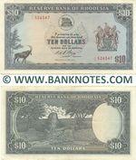Rhodesia 10 Dollars 8.5.1972 (J/12 526347) (lt. circulated) XF
