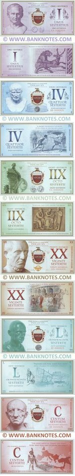 Roman Empire Commemorative set of 6 notes: 1, 4, 8, 20, 50, 100 Sesterces 2018 UNC